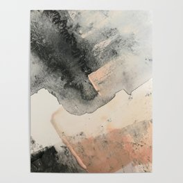 Peace and Quiet [2]: a pretty, minimal abstract piece in gray and peach by Alyssa Hamilton Art Poster