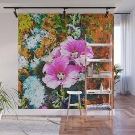 Pink Garden Hollyhock  abstract Wall Mural