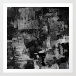 Crackled Gray - Black, white and gray, grey textured abstract Art Print
