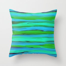 Apple Green, Seafoam, and Azure Blue Stripes Abstract Throw Pillow