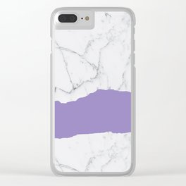 Elegant violet gray white modern marble pattern Clear iPhone Case