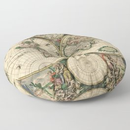 1689 Map of the World by Gerard van Schagen Floor Pillow