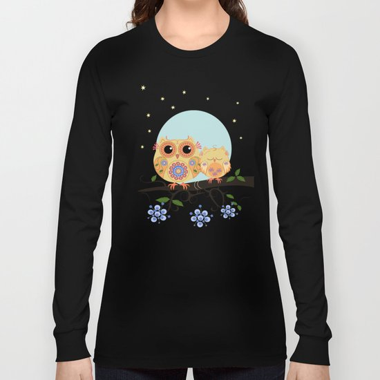 Colourful Flower power owl with her sleepy baby on branch Long Sleeve T-shirt
