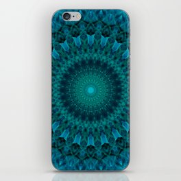 Light green and blue mandala iPhone Skin