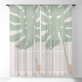 Monstera Leaf Sheer Curtain