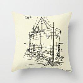 Ship Scaffold-1924 Throw Pillow