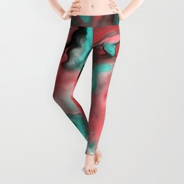 Pink and Turquoise Marble  Leggings