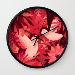 Birds in love Wall Clock