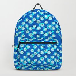 Water Lily Pattern, Turquoise, Blue and White Backpack
