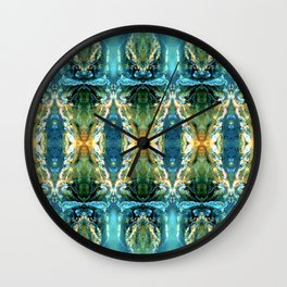 Yellow Green Blue Ice Sculptures Pattern Wall Clock