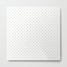 Desert Sage Grey Green Polka Dot Hearts on White Metal Print