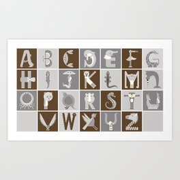 Neutral Horizontal Animal Alphabet (Complete Poster) Art Print