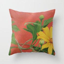 Winter blooming sun flower Throw Pillow