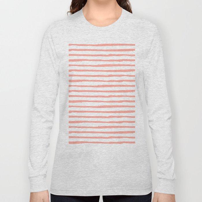 Pink Drawn Stripes Long Sleeve T-shirt