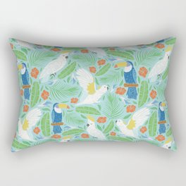 Blue toucan with white cockatoo amoung tropical flowers and leaves Rectangular Pillow