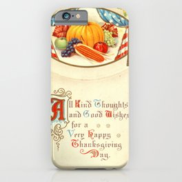 Thanksgiving postcards 186 USA flag  pumpkin  vegetables  all kind thoughts and good wishes... iPhone Case