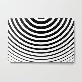 Black and White Minimal Concentric Circles Metal Print