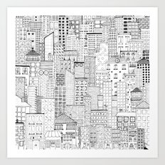 City Doodle (white) Art Print