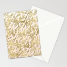 Gold Peach Ombre Squiggle Abstract Stationery Cards