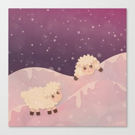 Cartoon Baby Sheep, Red Violet Snowy Bokeh Background Canvas Print
