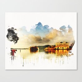 Indian watercolor impression with lat and palace in Udaipur, Rajasthan Canvas Print