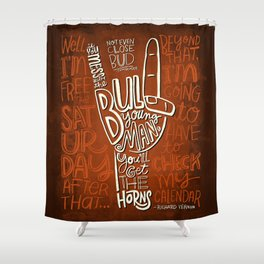 Mess With The Bull (orange) Shower Curtain