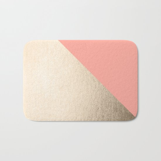 Simply Shadow in White Gold Sands on Salmon Pink Bath Mat