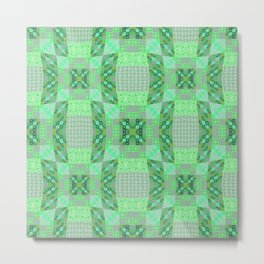Adorable Geometric Quilt in Retro Lime and Grey Metal Print