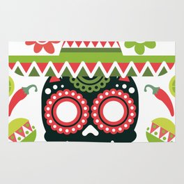 Mexican Cinco De Mayo Skull Party Rug