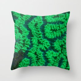 Fluorescent coral Throw Pillow