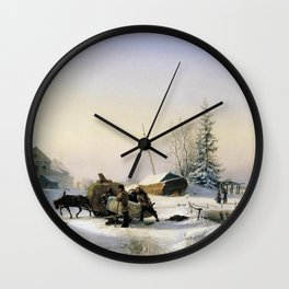 Transportation Of Ice 1849 By Lev Lagorio | Reproduction | Russian Romanticism Painter Wall Clock