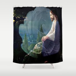 Jesus Christ On Mount Olive With White Rose By Annie Zeno Shower Curtain