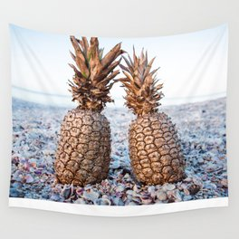Gold Pineapples Wall Tapestry