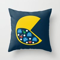 8 bit Throw Pillows featuring 8-Bit Breakfast by Byway