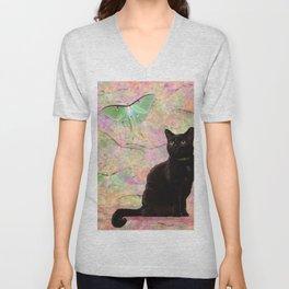 Luna Cat Pink & Green Unisex V-Neck