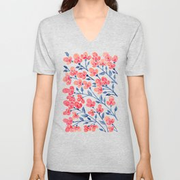 Cherry Blossoms – Melon & Navy Palette Unisex V-Neck