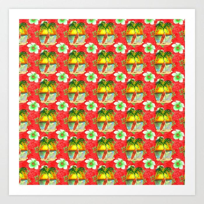 Tropical Christmas.Tropical Christmas Pattern Art Print