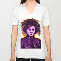 johnny depp V-neck T-shirts featuring Edward Scissorhands (Johnny Depp) by Art of Fernie