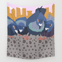 Pigeon Feast Wall Tapestry