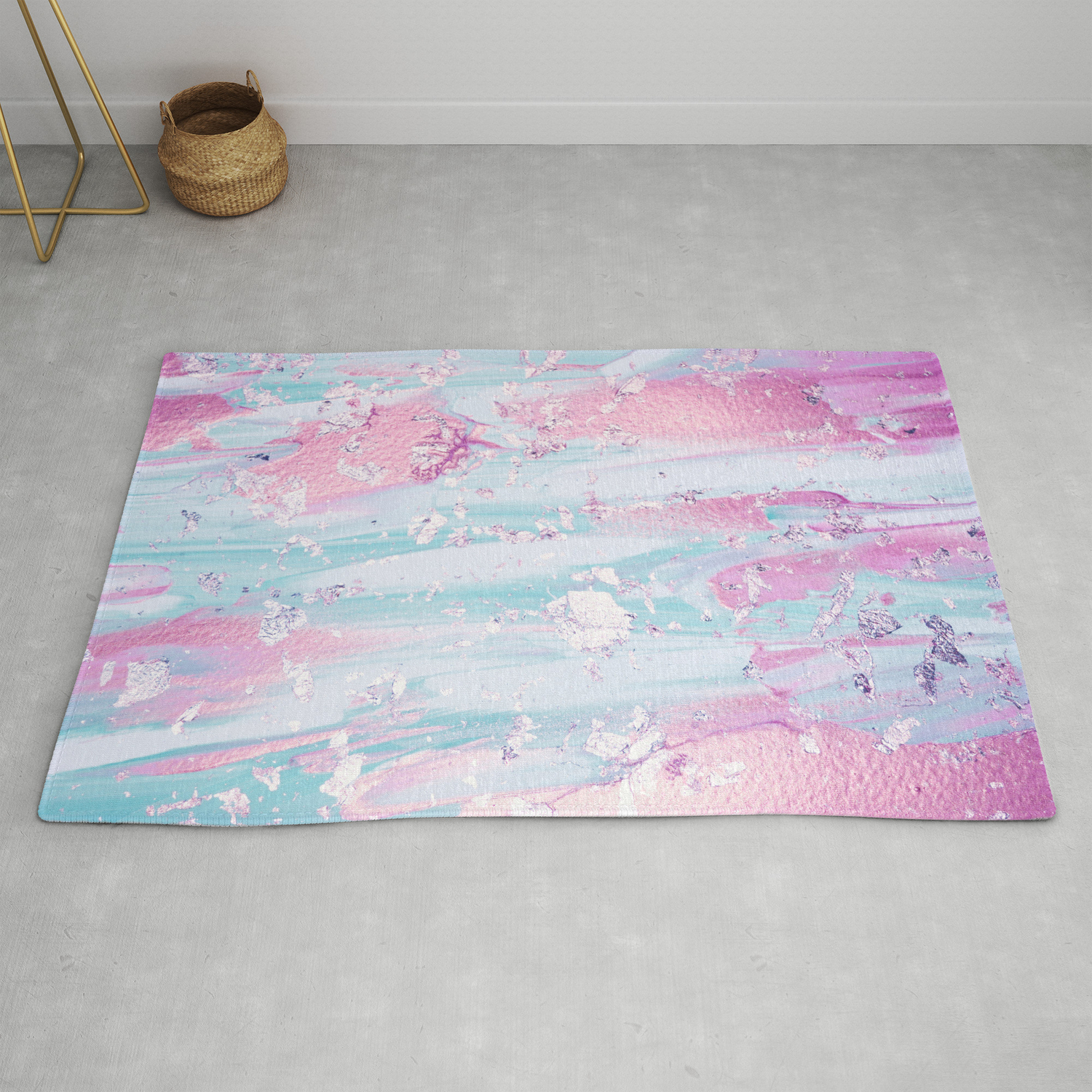 Shine Shimmer Pastel Pink And Blue Modern Rug By Naturemagick