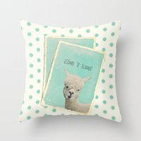 lama Throw Pillows featuring Lama by Monika Strigel