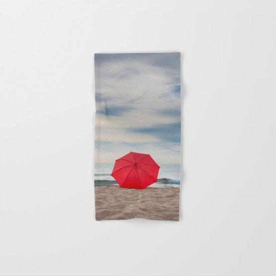 Red Umbrella lying at the beach III Hand & Bath Towel