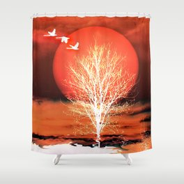 Sun in red Shower Curtain