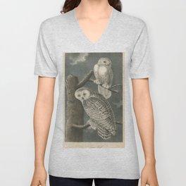Vintage Illustration of Snowy Owls (1840) Unisex V-Neck