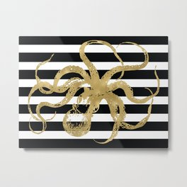 Gold Octopus on Black & White Stripes Metal Print