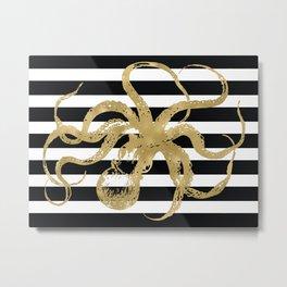 Gold Octopus on Black & White Stripes Metal Print
