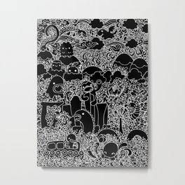Oodles of Doodles of Singapore (Black) Metal Print