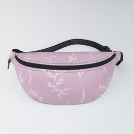Modern spring pink lavender floral twigs hand drawn pattern Fanny Pack