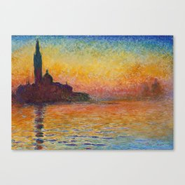 San Giorgio Maggiore by Twilight by Claude Monet Canvas Print