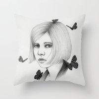 aurora Throw Pillows featuring Aurora by The White Deer